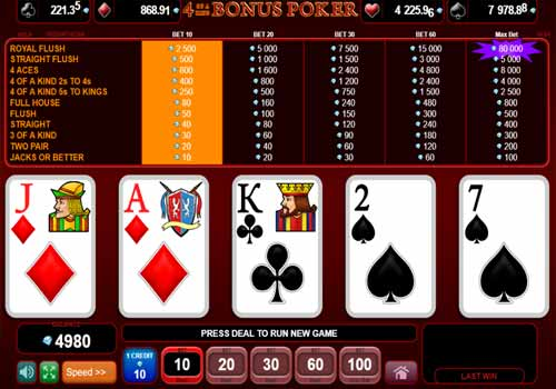 Aperçu 4 of a Kind Bonus Poker